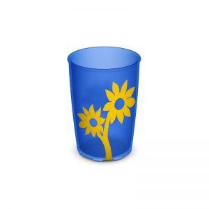 Antislip beker flowers 250ml - blauw