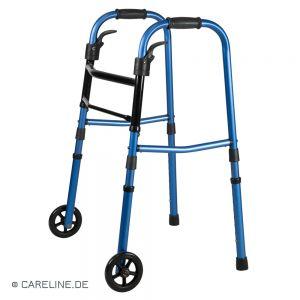 Looprek vouwbaar, met wielen, blauw