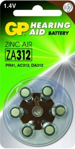 Zink Air hoorapparaat batterijen - ZA312, blister 6 stuks